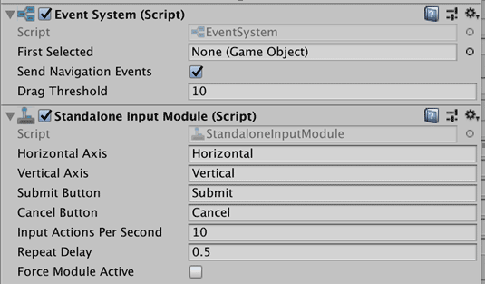 Unity EventSystem settings screenshot
